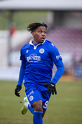 06MAR21 Queen of the South's Adedapo Awokoya-Mebude. Arbroath 2 v 4 Queen of the South, Scottish Championship played 6/3/2021 at Arbroath's home ground, Gayfield Park.