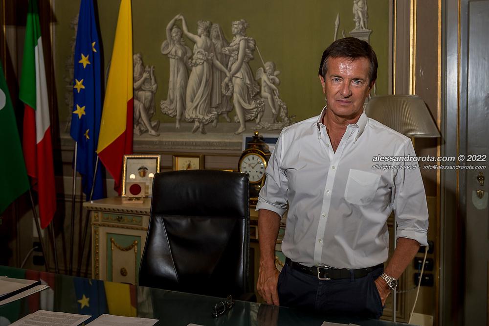 03 AUG 2020 - Bergamo, Italy. Giorgio Gory, Mayor of Bergamo, poses for portraits at his office in the City Council. Bergamo was hardly hit by the Covid19 Pandemic, registering one the highest death toll of Italy. The irony is that its soccer team 'Atalanta' is living an extraordinary season even though it is a province town competing with bigger international teams at the Champions League. Atalanta represents and is a symbol of the operosity of people from the Bergamo area and their incredible resilience to live through hard times.