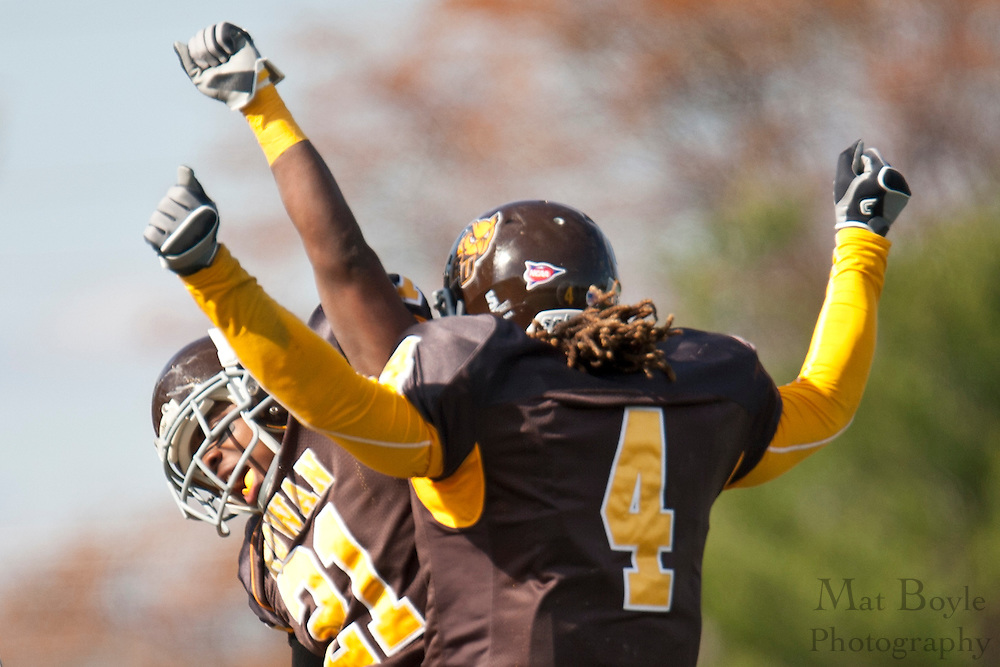 Wide Reciever Khalil Wallace celebrates with Brandon Jones after Khalil scored a touchdown in the second quarter during Rowan's 57-0 win over Western Conneticut State.