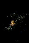 Israel, Haifa,  Bhai temple at night,  Dan Carmel Hotel in the background