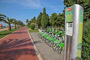 Bicycle rental station and cycling path at Miracle Park, Batumi, Georgia
