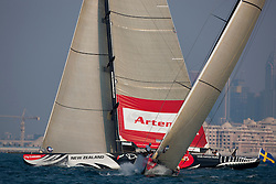 RR2. Artemis Racing (SWE) vs. All4One (GER/FRA). the boats split on the first beat after the start, with Artemis going left. The first cross All4One was two boats lengths ahead. Artemis never recovered. Dubai, United Arab Emirates, November 23rd 2010. Louis Vuitton Trophy  Dubai (12 - 27 November 2010)  Sander van der Borch / Artemis Racing
