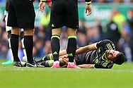 Diego Costa of Chelsea lies injured on the ground. Premier league match, Everton v Chelsea at Goodison Park in Liverpool, Merseyside on Sunday 30th April 2017.<br /> pic by Chris Stading, Andrew Orchard sports photography.