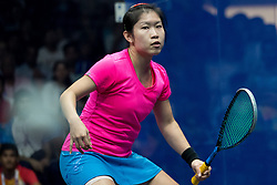 JAKARTA, Sept. 1, 2018  Au Wing Chi Annie of China's Hong Kong competes against Chinappa Joshana of India during the Squash Women's Team Gold Medal Match at the 18th Asian Games in Jakarta, Indonesia, Sept. 1, 2018. (Credit Image: © Zhu Wei/Xinhua via ZUMA Wire)