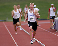Germany's Arthur Abele wins the 1,500-meter run and finished first in overall points in the decathlon, at the Nike Combined Events Challenge at the R.V. Christian Track Complex on the campus of Kansas State University in Manhattan, Kansas, August 6, 2006.