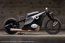 Revival Cycles BMW Landspeeder custom built with a 1000 cc airhead motor from a R100/7 BMW at the Handbuilt Show. Austin, TX, USA. April 8, 2016.  Photography ©2016 Michael Lichter.