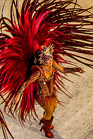 Samba dancer in the Carnaval parade of Unidos de Vila Isabel samba school in the Sambadrome, Rio de Janeiro, Brazil.