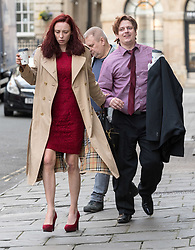 """© Licensed to London News Pictures; FILE PICTURE dated 11/03/2020 of LAURA HAWKINS (beige coat) and JAMES TOOGOOD (pink shirt) arriving at Bristol Crown Court. JAMES TOOGOOD, age 36 was today 17/03/2020 found guilty at Bristol Crown Court of damaging property being reckless as to whether life was endangered when there was an explosion which caused £260,000 worth of damage to a house in Whitchurch Lane, Bristol. James Toogood, who has 14 previous convictions including robbery, was using butane to make a powerful cannabis derivative known as """"shatter"""". He was remanded in custody until sentencing on Monday. Toogood had admitted producing butane hash oil but said he was not doing so on February 23 2019, the date when there was an explosion at the house he was living in, a council flat at 264 Whitchurch Lane. Laura Hawkins, 39, was also found guilty of permitting a property to be used for the production of a controlled drug of Class B. At the house explosion in Whitchurch Lane, three people received minor injuries and were taken to hospital and much of the house was destroyed. A large trampoline was used to help some people escape. Photo credit: Simon Chapman/LNP."""