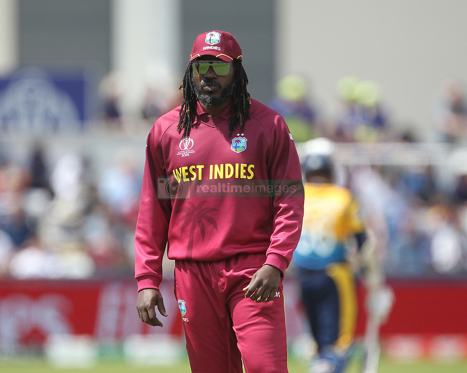 July 1, 2019 - Chester Le Street, County Durham, United Kingdom - West Indies' Chris Gayle during the ICC Cricket World Cup 2019 match between Sri Lanka and West Indies at Emirates Riverside, Chester le Street on Monday 1st July 2019. (Credit Image: © Mi News/NurPhoto via ZUMA Press)