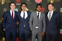 Players from the Westfield W-League and Hyundai A-League arrive on the red carpet for the 2018 Dolan Warren Awards at The Star Event Centre - 80 Pyrmont St, Pyrmont, NSW. 30 Apr 2018 Pictured: Matt Ridenton, Sarpreet Singh, Roy Krishna and Nathan Burns of the Wellington Phoenix. Photo credit: Richard Milnes / MEGA TheMegaAgency.com +1 888 505 6342