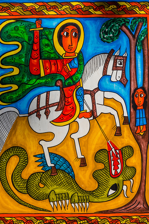 St. George the Dragon Slayer, Hand painted souvenirs, Lalibela, Ethiopia.