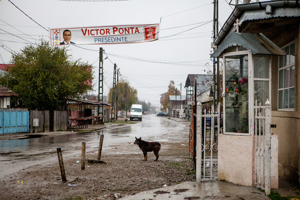 View to the main road  in Marginenii de Jos with a billboard for the presidential elections of last round candidate Victor Ponta who lost the vote. On the right side a shrine with a cross and flowers.