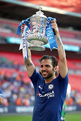 Chelsea's Cesc Fabregas celebrates with the FA Cup trophy