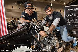 Custom Bonneville land speed racer from the Beautiful Machines shop in Malaysia at the Mooneyes Yokohama Hot Rod & Custom Show. Yokohama, Japan. December 4, 2016.  Photography ©2016 Michael Lichter.