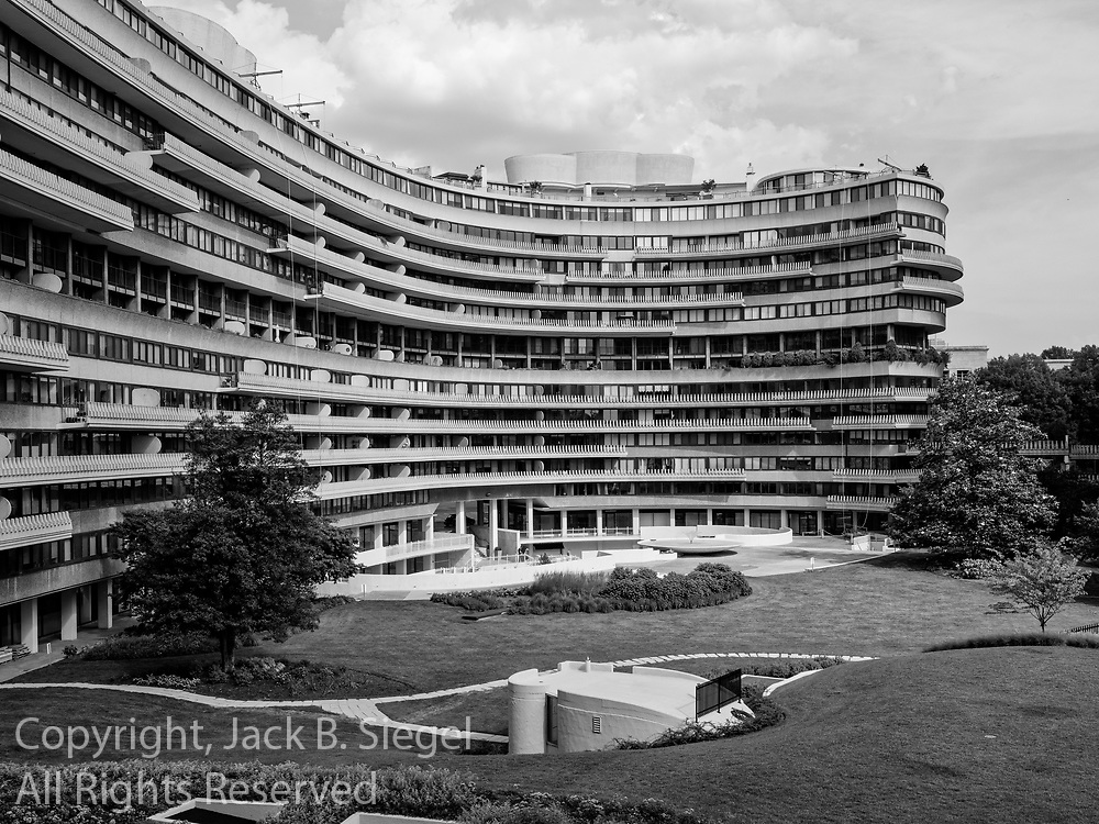 The Watergate complex in Washington, D.C. as photographed from the fourth floor of the Watergate Hotel