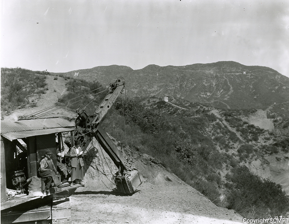 """1923 The first test letter """"H"""" of the Hollywood sign. The actual sign was erected several yards to the west of this test letter."""
