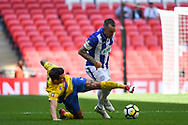 Tom Melledew of Thatcham Town (4) and Chris Stockton of Stockton Town (15) battle for the ball during the FA Vase match between Stockton Town and Thatcham Town at Wembley Stadium, London, England on 20 May 2018. Picture by Stephen Wright