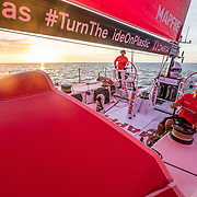 Leg 6 to Auckland, day 13 on board MAPFRE, Pablo Arrarte at the helm and Xabi fernandez trimming during the sunset. 19 February, 2018.