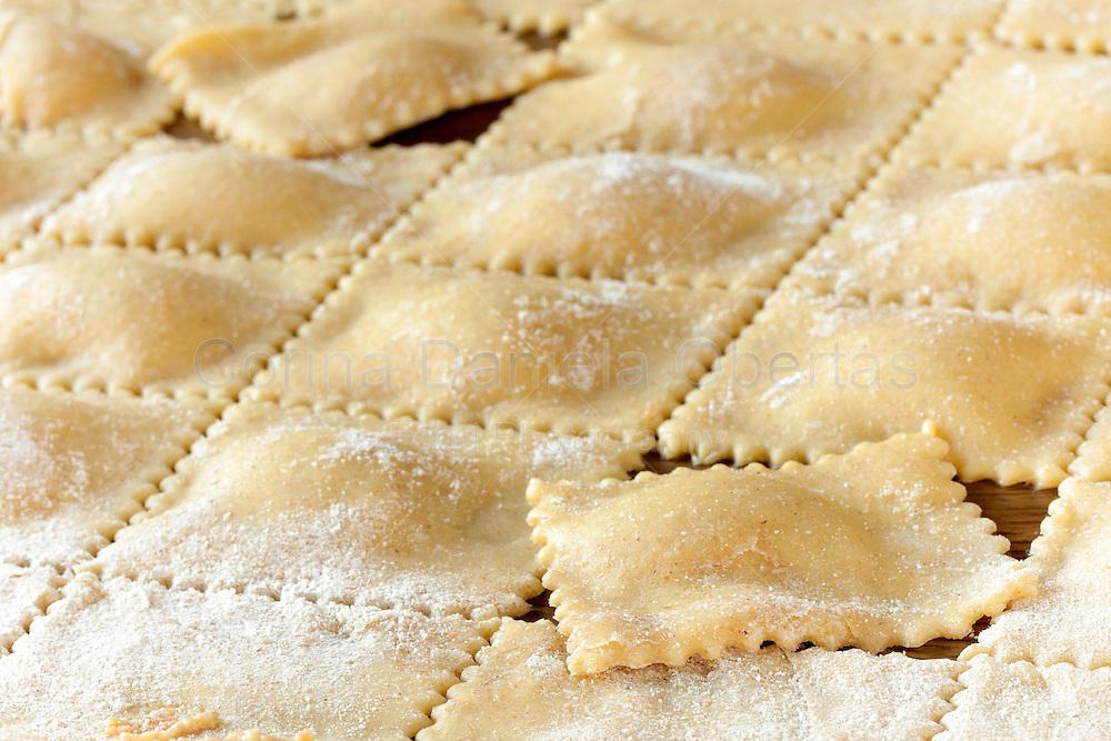 Homemade Piedmont agnolotti, closeup shot.