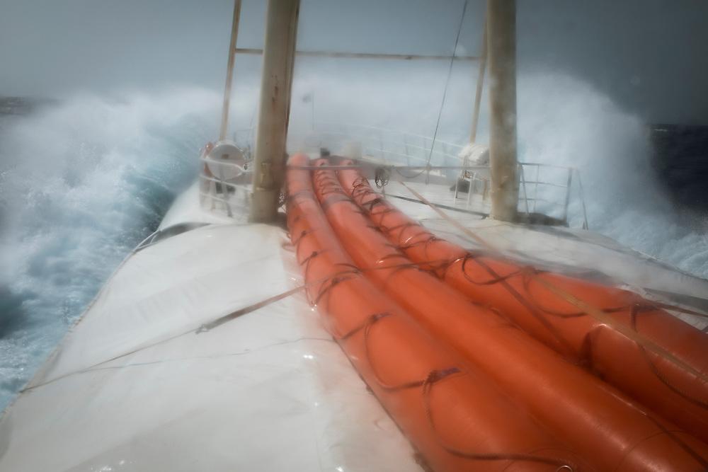 June 2017, Central Mediterranean. Rough sea force 7 in Central Mediterranean. NGO Proactiva Open Arms in their 20th rescue mission in the Central Mediterranean Sea on board of Golfo Azzurro vessel (photo Edu Bayer)