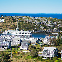 Morning view over to Manana Island, taken next to the Monhegan Island lighthouse and museum with the Island Inn visible