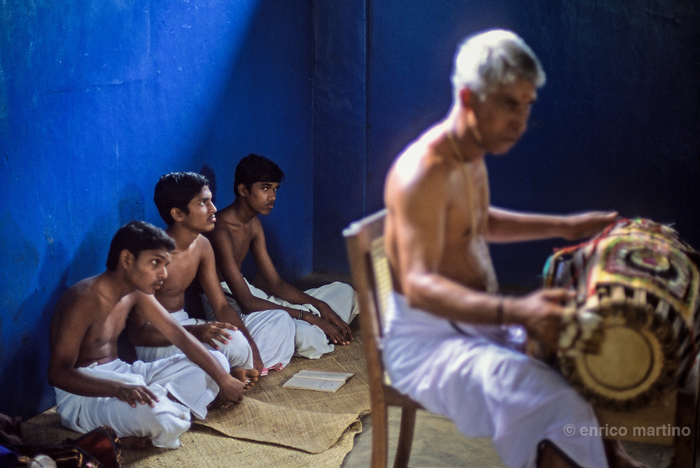 Kalamandalam Academy near Trichur. In Khatakali the raga music through the different levels of notes express various emotions.