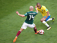 Miranda of Brazil and Javier Hernandez of Mexico during the 2018 FIFA World Cup Russia, round of 16 football match between Brazil and Mexico on July 2, 2018 at Samara Arena in Samara, Russia - Photo Tarso Sarraf / FramePhoto / ProSportsImages / DPPI
