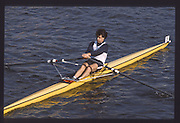 London. United Kingdom. Richard STANHOPE.  1990 Scullers Head of the River Race. River Thames, viewpoint Chiswick Bridge Saturday 07.04.1990<br /> <br /> [Mandatory Credit; Peter SPURRIER/Intersport Images] 19900407 Scullers Head, London Engl