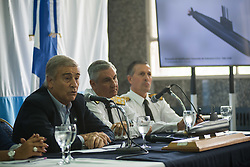 November 17, 2018 - Buenos Aires, Argentina - Argentine Defense Minister OSCAR AGUAD speaks during a press conference. 366 days after the disappearance of the submarine Ara San Juan, the Argentine Navy announced Saturday that Ocean Infinity found the submarine remains 900 meters under the sea. (Credit Image: © Mario De Fina/Fotoarena via ZUMA Press)