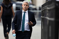 © Licensed to London News Pictures. 16/06/2021. London, UK. Chief Secretary to the Treasury Stephen Barclay arrives at The Houses of Parliament. Earlier today former chief advisor to number 10, Dominic Cummings, released a series of private WhatsApp conversations with Prime Minister Boris Johnson, in which the PM was critical of the health secretary.  Photo credit: George Cracknell Wright/LNP