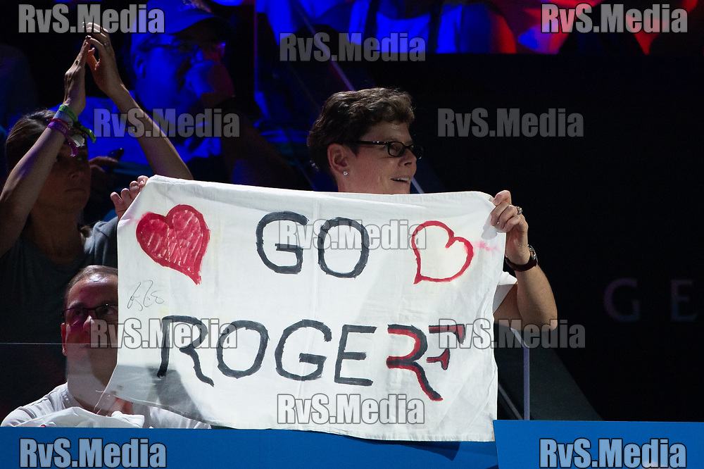 GENEVA, SWITZERLAND - SEPTEMBER 22: Roger Federer of Team Europe fan during Day 3 of the Laver Cup 2019 at Palexpo on September 20, 2019 in Geneva, Switzerland. The Laver Cup will see six players from the rest of the World competing against their counterparts from Europe. Team World is captained by John McEnroe and Team Europe is captained by Bjorn Borg. The tournament runs from September 20-22. (Photo by Robert Hradil/RvS.Media)