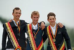 Podium Young Riders, Thomas Gilles, De WInter Jeroen, Huyvaert Thibault<br /> Belgisch Kampioenschap Young Riders<br /> Azelhof - Koningshooikt 2018<br /> © Dirk Caremans<br /> 13/05/2018