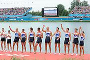 Eton Dorney, Windsor, Great Britain,..2012 London Olympic Regatta, Dorney Lake. Eton Rowing Centre, Berkshire[ Rowing]...Description;  Men's Eights Medals left to right, .GBR.M8+ Alex PARTRIDGE (b) , James FOAD (2) , Tom RANSLEY (3) , Richard EGINGTON (4) , Mohamed SBIHI (5) , Greg SEARLE (6) , Matt LANGRIDGE (7) , Constantine LOULOUDIS (s) , Phelan HILL (c)  Dorney Lake..13:03:51  Wednesday  01/08/2012..[Mandatory Credit: Peter Spurrier/Intersport Images].