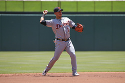 May 9, 2018 - Arlington, TX, U.S. - ARLINGTON, TX - MAY 09: Detroit Tigers shortstop Jose Iglesias (1) throws to first base during the game between the Detroit Tigers and the Texas Rangers on May 9, 2018 at Globe Life Park in Arlington, TX. (Photo by George Walker/Icon Sportswire) (Credit Image: © George Walker/Icon SMI via ZUMA Press)