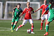 Jessica Fishlock of Wales (c) in action as she  wins her 100th cap and becomes the only Welsh senior international, men or women's to reach the 100th milestone becoming the most capped Welsh international. Wales women v Northern Ireland women, friendly international football in Ystrad Mynach, near Caerphilly, South Wales on Wednesday 5th April 2017.<br /> pic by Andrew Orchard, Andrew Orchard sports photography.