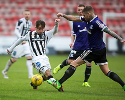 Dunfermline's Josh Falkingham and Ayr United's Ryan Stevenson. <br /> Dunfermline 3 v 2 Ayr United, Scottish League One played at East End Park, 13/2/2016.