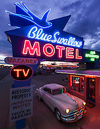 Blue Swallow Motel, neon sign, Pontiac, Tucumcari, New Mexico, Route 66,