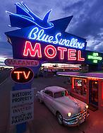 Blue Swallow Motel, neon sign, Pontiac, Tucumcari, New Mexico, Route 66,