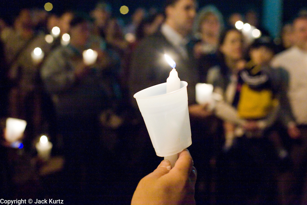 November 10, 2008 -- PHOENIX, AZ:  About 250 people attended a candle light vigil in support of gay rights and gay marriage in Phoenix, AZ, Monday night. The rally, like similar ones in Los Angeles and Salt Lake City, were in response to anti-gay marriage and anti-gay rights initiatives that were passed by the voters in Arizona, California and Florida. The anti-gay initiatives in Arizona and California were funded by conservative churches, including the Church of Latter Day Saints (Mormons). Photo by Jack Kurtz / ZUMA Press