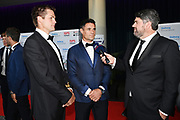 ISPS Handa Ambassadors Richie McCaw and Dan Carter are interviewed by James McOnie on the red carpet, ISPS Handa Halberg Awards Decade Champion held at Spark Arena, Auckland. Wednesday 24 March 2021. Mandatory Photo Credit: Andrew Cornaga / www.photosport.nz
