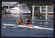 Henley on Thames. Henley,  United Kingdom. <br /> GBR W2-. Bow Joanna GOUGH and Anabel EYRES GBR rowing Team Training on Henley Reach, England.<br /> [Mandatory Credit; Peter SPURRIER/Intersport Images] 1990 GBRowing Training on Henley Re 1990 GBRowing Training on Henley Reach. UK