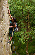 Andrea Hah climbing Five Finger Exercise, E3, Cratcliffe