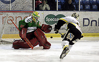 Ishockey<br /> GET-Ligaen<br /> 31.01.08<br /> Askerhallen<br /> Frisk Asker - Stavanger Oilers<br /> Brendan Brooks scorer sitt andre av tre mål<br /> Foto - Kasper Wikestad