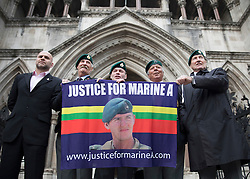 © Licensed to London News Pictures. 16/12/2016. London, UK. Forrmer soldiers show their support for Sgt Blackman at The High Court ahead of his bail hearing. Marine Sgt Alexander Blackman is currently serving a life sentence after being convicted of murdering a wounded Taliban fighter in Afghanistan in 2011. Photo credit: Peter Macdiarmid/LNP