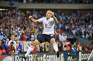 Landon Donovan celebrates his PK goal. The USA defeated Honduras, 2-1, in a World Cup qualifying match at Soldier Field in Chicago, IL on June 6, 2009.