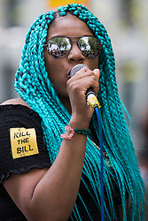 London, UK. 29th May, 2021. Chantelle Lunt, founder of Merseyside BLM Alliance, addresses activists from civil liberties groups taking part in a Kill The Bill National Day of Action in protest against the Police, Crime, Sentencing and Courts (PCSC) Bill 2021. The PCSC Bill would grant the police a range of new discretionary powers to shut down protests, including the ability to impose conditions on any protest deemed to be disruptive to the local community, wider stop and search powers and sentences of up to 10 years in prison for damaging memorials.