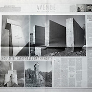 """Double page spread review of the """"Industrial Cathedrals of the North"""" work  published in 1999 of Louie Palu's images of mine sites and their architecture by John David Gravenor. (Credit Image: © Louie Palu/ZUMA Press)"""