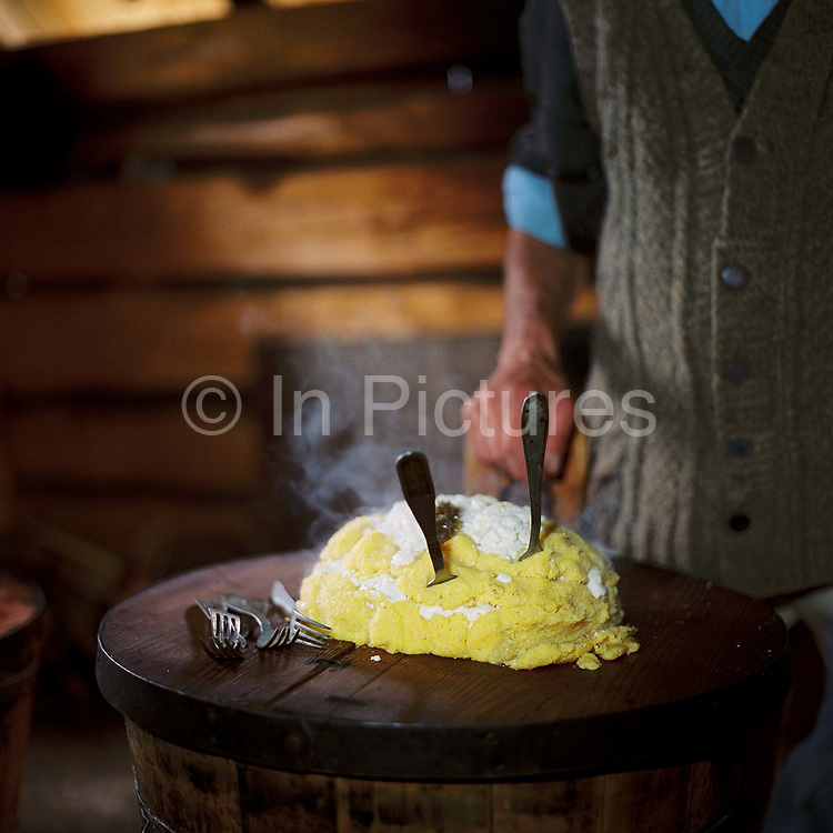 Freshly made mamaliga in a sheepfold in Lunca Ilvei, Romania. Shepherds live on 'urda' a kind of cottage cheese made from whey together with mamaliga or maize mush, made by cooking maize flour with water in a cauldron until it can be turned out into a board as a solid block and sliced like bread.