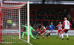 Alex Woodyard of Peterborough United goes close to scoring against Stevenage - Mandatory by-line: Joe Dent/JMP - 09/11/2019 - FOOTBALL - Lamex Stadium - Stevenage, England - Stevenage v Peterborough United - Emirates FA Cup first round