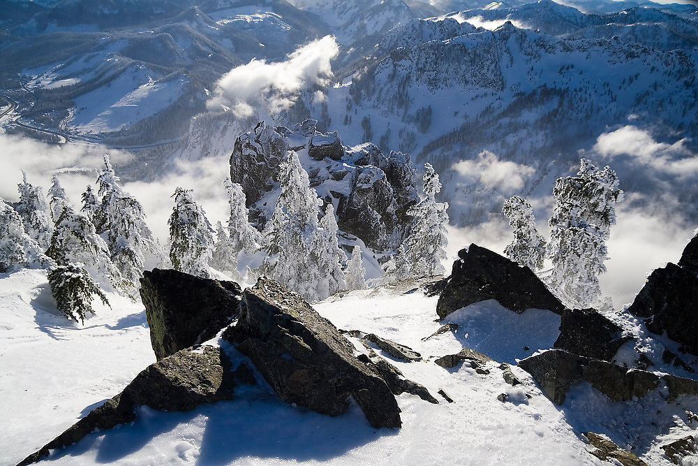 View towards Snoqualmie Pass from the summit of Snoqualmie Mountain, Washington.
